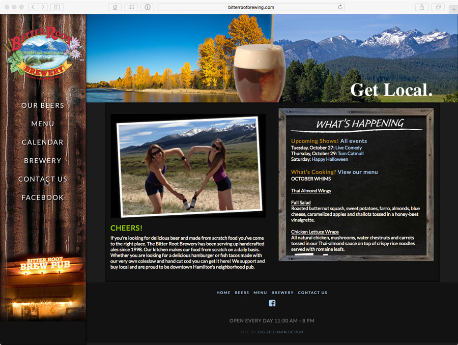 image of website design for hamilton, montana brewery