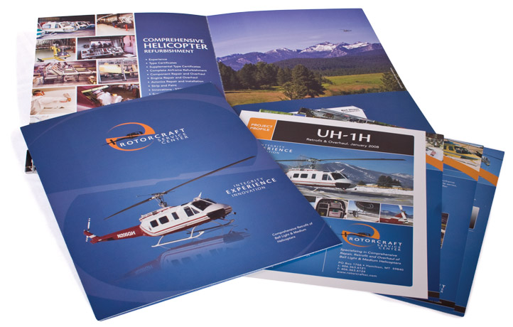 Folder, Shell Sheets, Brochures designed for Rotorcraft Service Center
