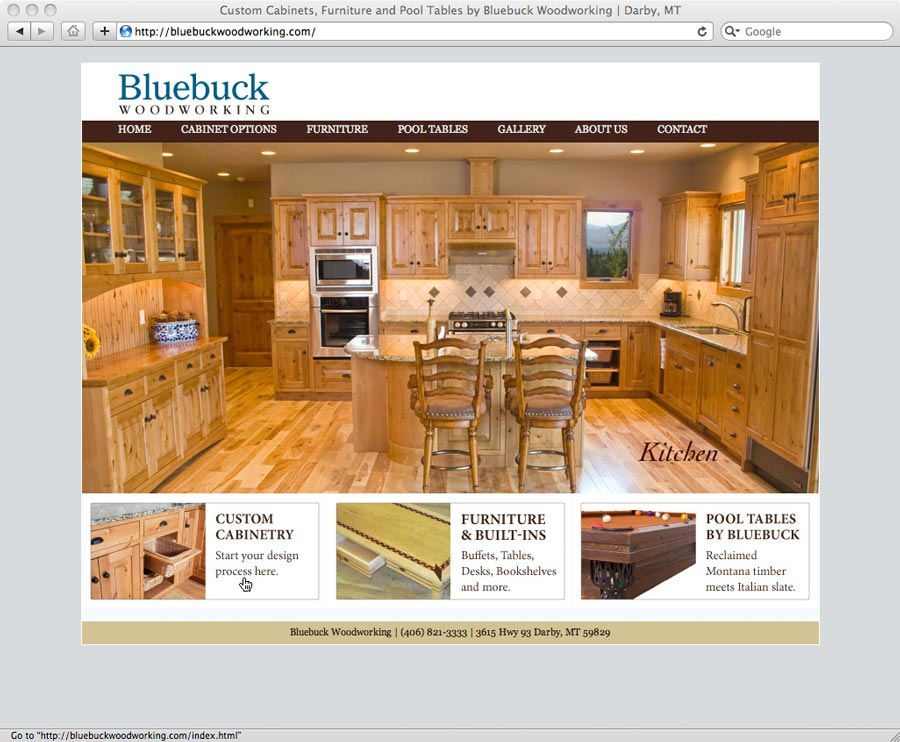 website designed for Bluebuck Woodworking of Darby, MT