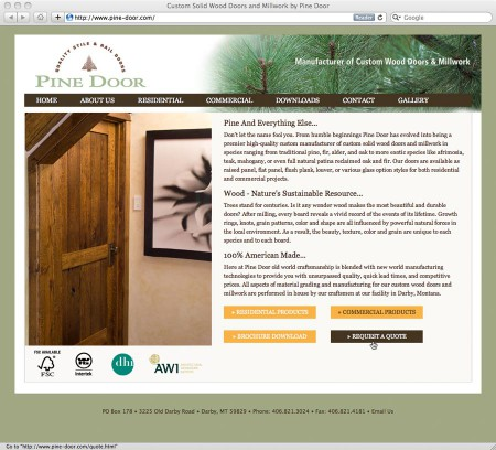 website design for Pine Door Manufacturing, Darby, Montana