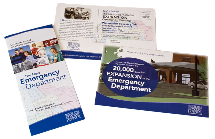 brochure and postcard for Marcus Daly Memorial Hospital Emergency Department