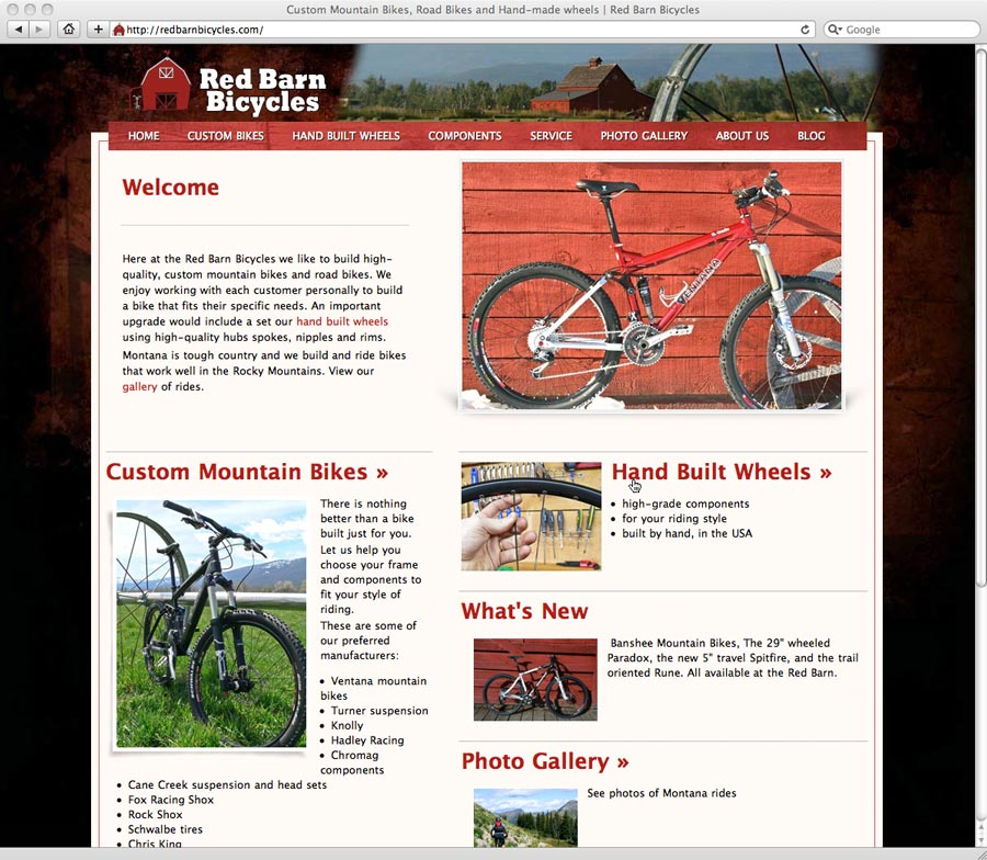 screenshot of Red Barn Bicycles web design