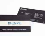 Business Card Design for Bluebuck Woodworking of Darby, Montana