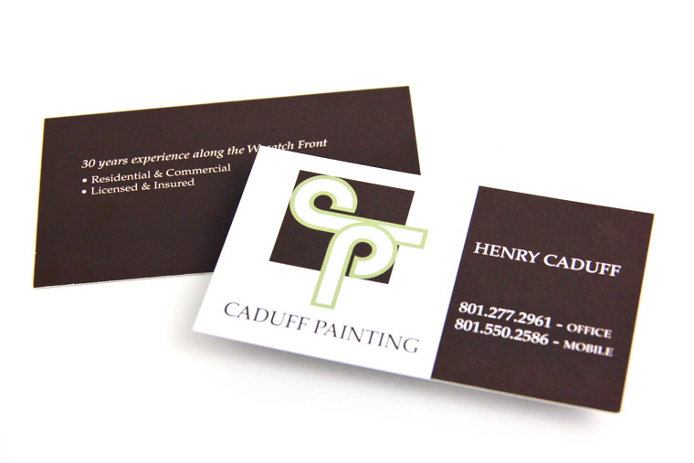 Business Card Design for Caduff Painting of Salt Lake City, Utah