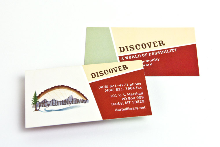 Business Card Design for Darby Library, Montana