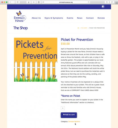 image of shopping cart website created for emma's house children advocacy center