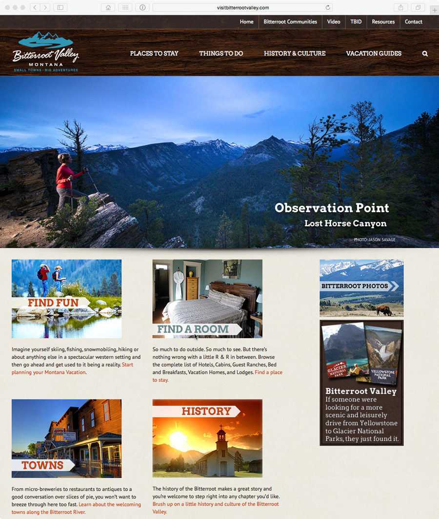 website design for ravalli county tourism improvement district